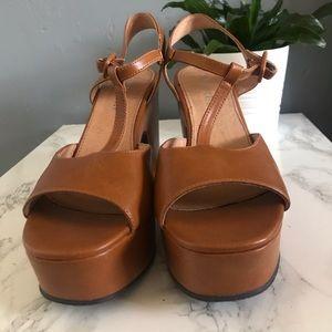 Chelsea crew brown platform heels